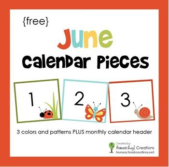 June Pocket Chart Calendar Pieces  Free Printable  Header