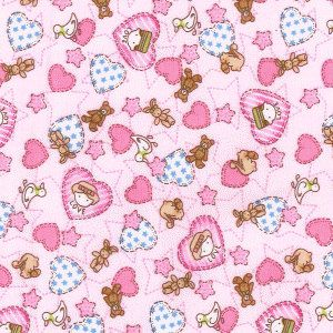 NEW Fabric Rabbits Toys Purple Poplin Cotton Fat Quarter Quilting kids material