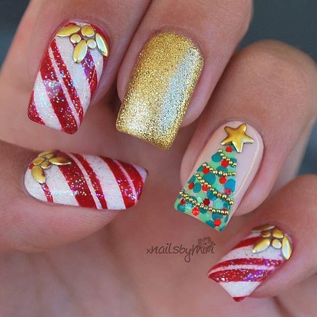 Candy Cane & Christmas Tree Nail Art Design - 31 Christmas Nail Art Design Ideas Tree Nail Art, Christmas Tree
