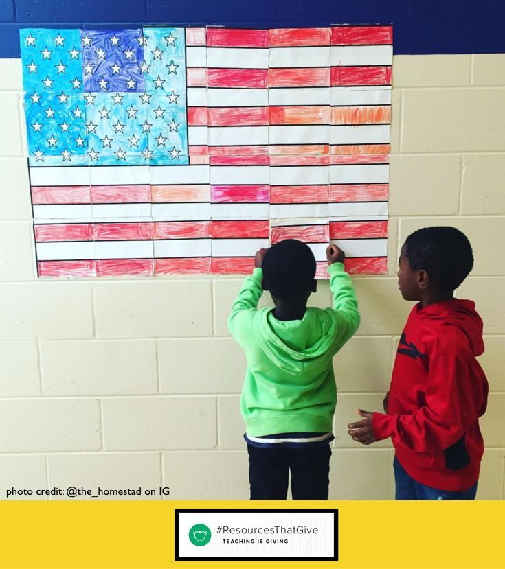 FREE Veteran's Day Activity | American Flag Collaboration Poster #veteransdayartprojects Free American flag collaboration poster! This fun and easy art project will get your kids working together and show them how important every single person in the class is. This poster is great for a variety of American patriotic holidays like Veterans Day, Memorial Day, the 4th of July and more! #veteransdayartprojects