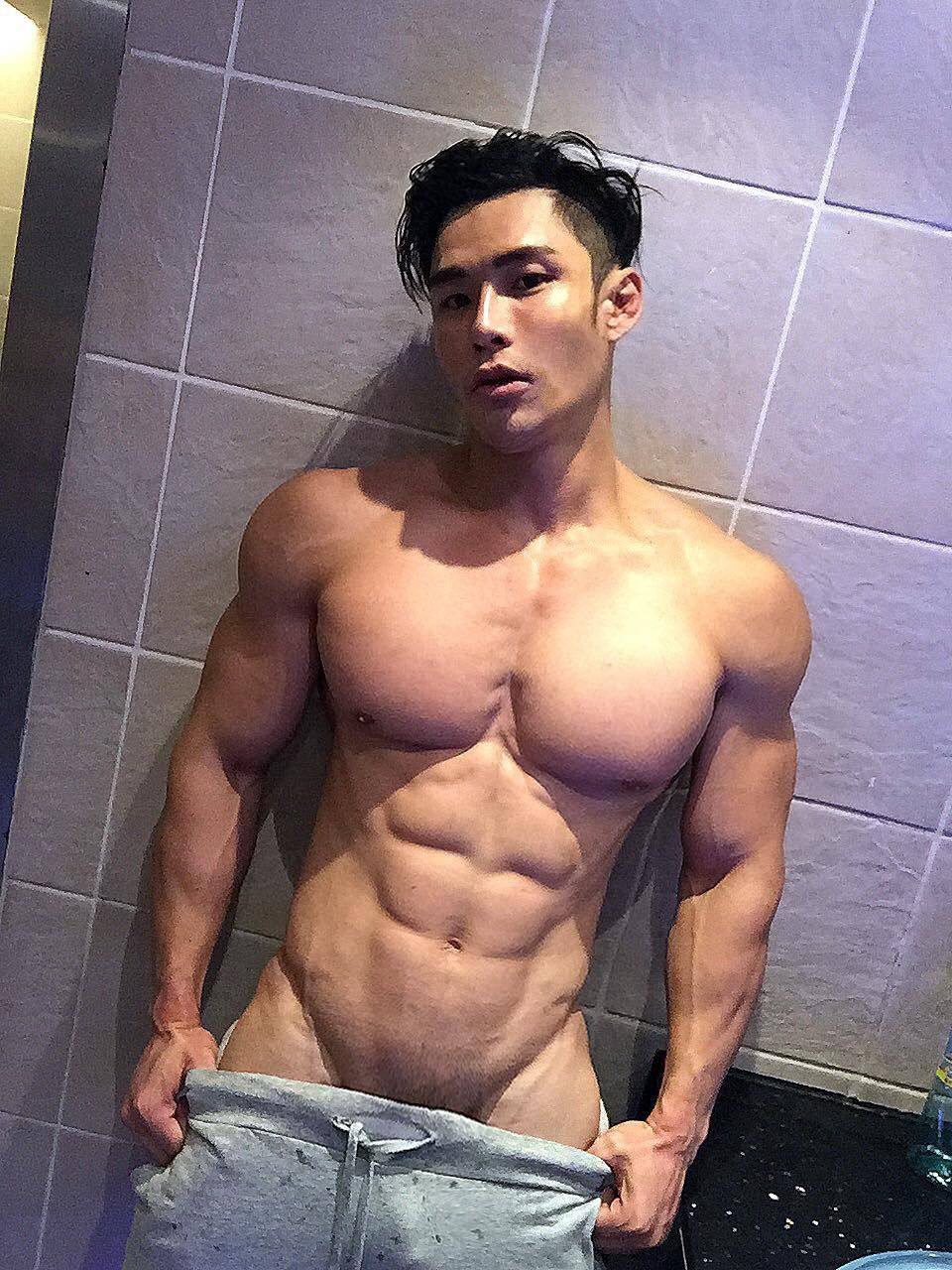 hunk muscle Hot asian