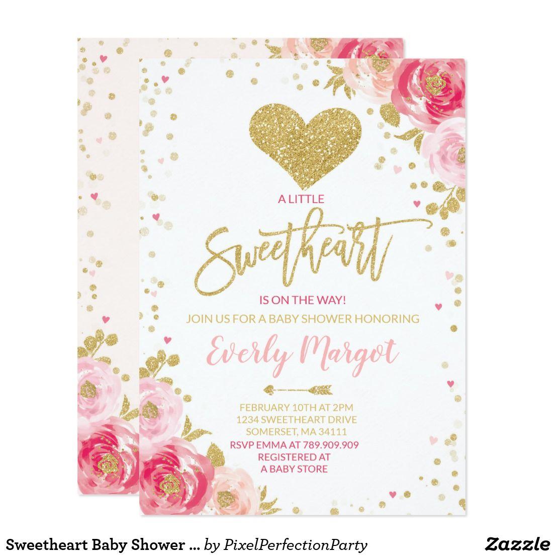 Sweetheart Baby Shower Invitation Valentine\'s Baby   Birthday Bash ...