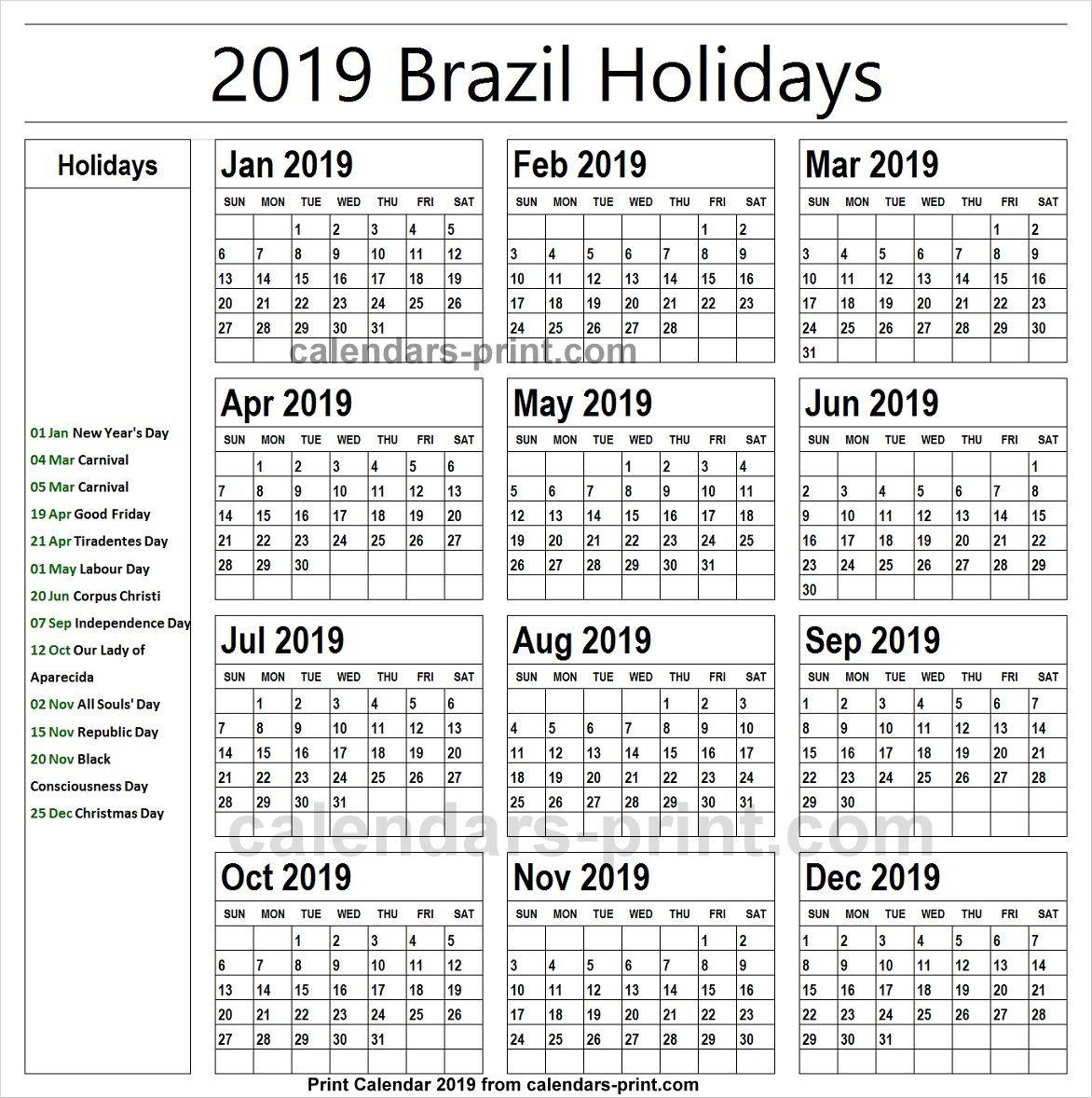 Christmas 2019 Bank Holidays.2019 Bank Holidays Brazil Holidays Calendar 2019