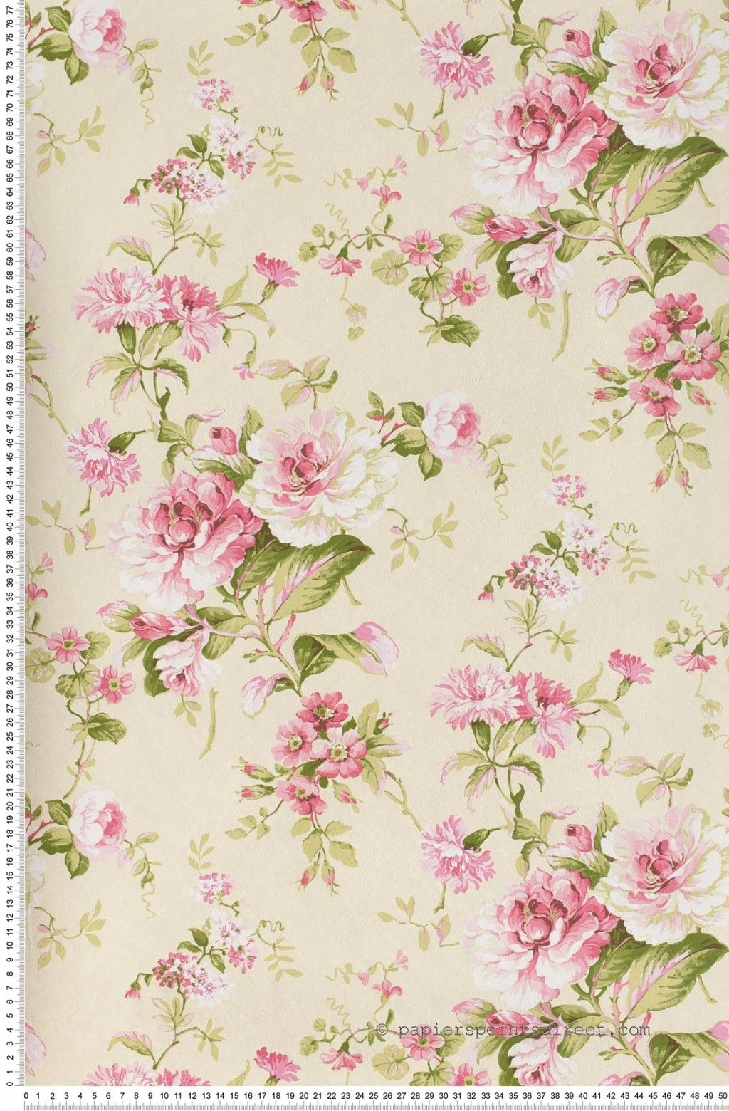 fleurs classiques roses papier peint lut ce imprim s. Black Bedroom Furniture Sets. Home Design Ideas