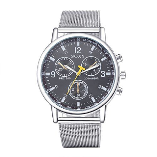Mens Classic Vintage Luxury Stainless Steel Band Black Di...