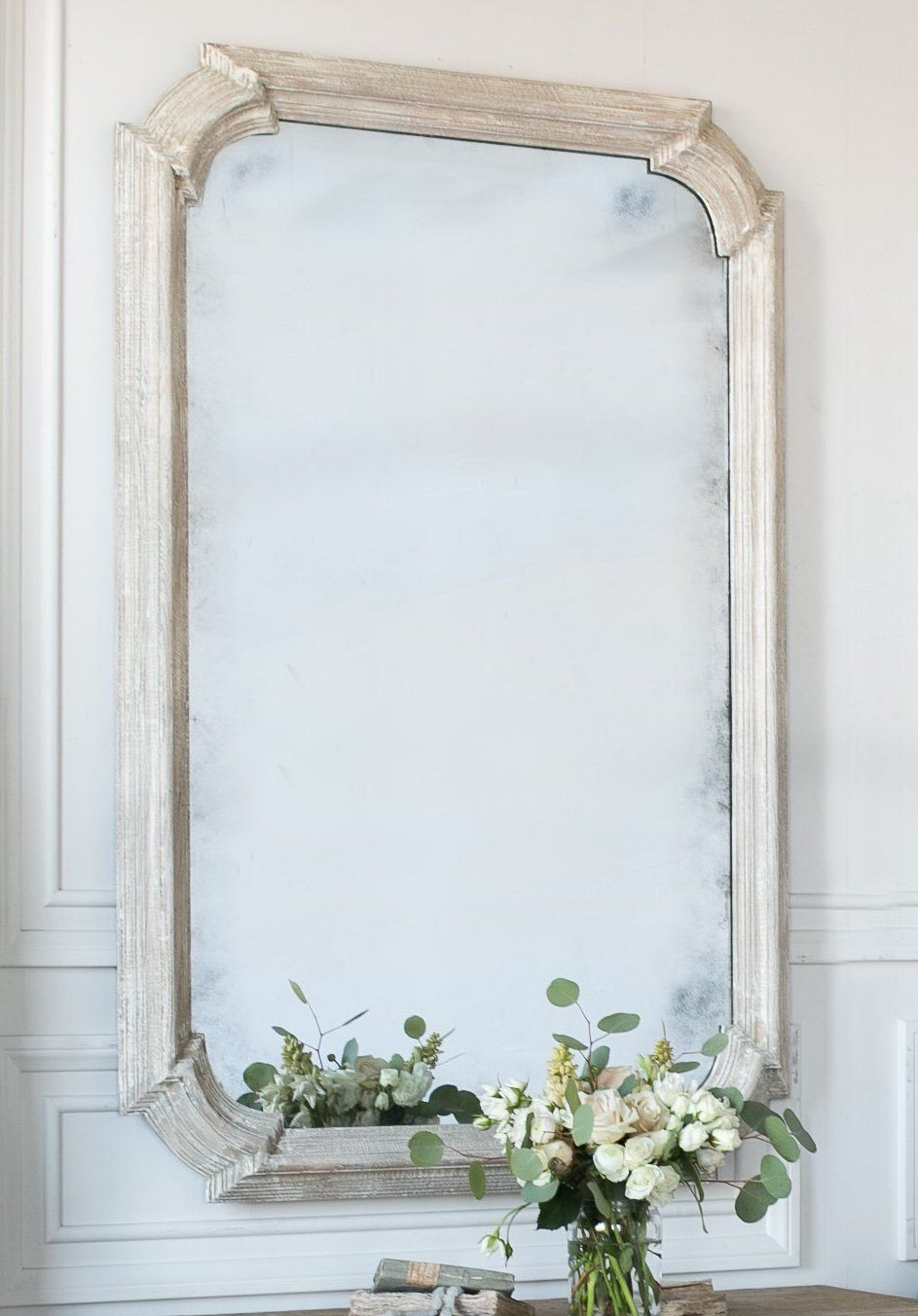 Vienna Antiqued Mirror With Whitewashed Wood Antique Mirror Mirror Rattan Mirror