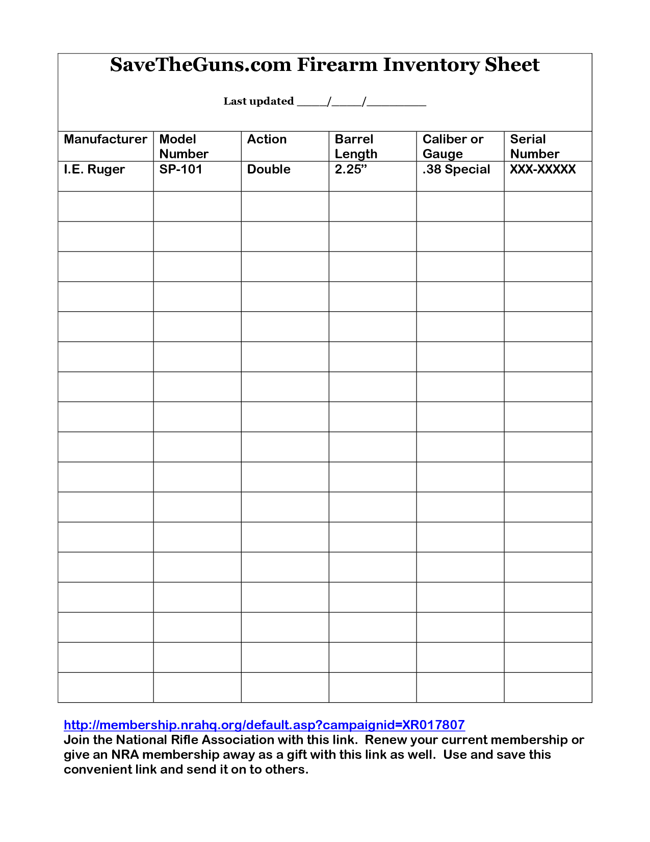 Printable Gun Inventory Form  Firearm Inventory Sheet By