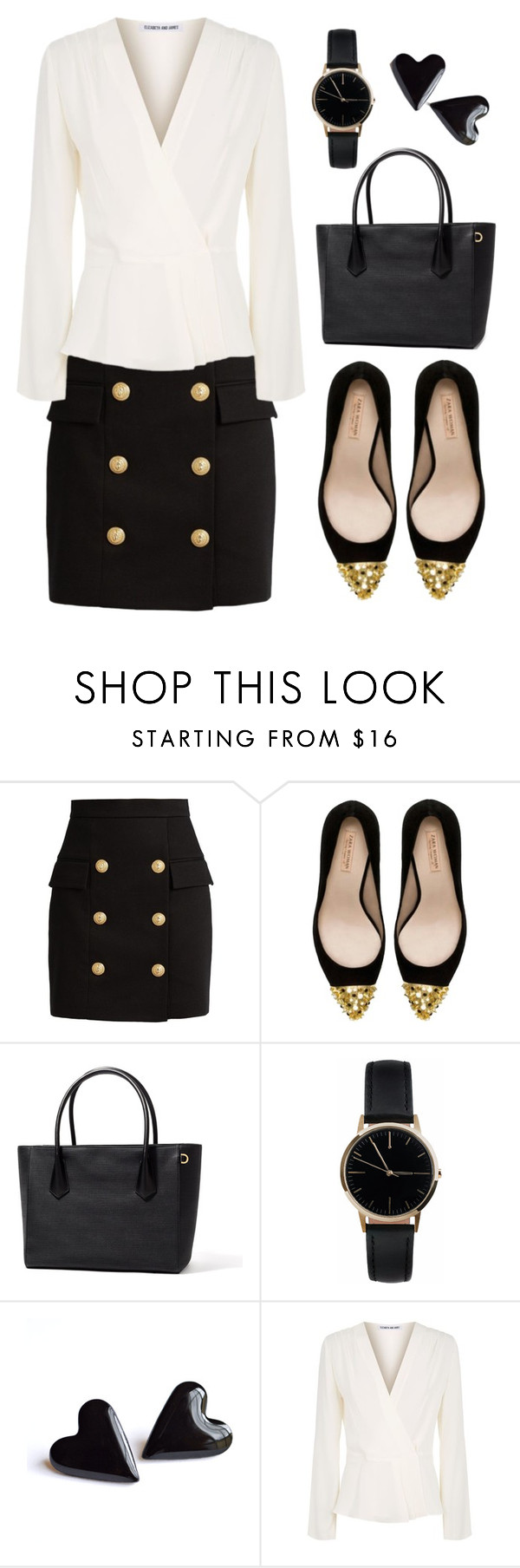 """New # 3.68"" by cami-li ❤ liked on Polyvore featuring Balmain, Zara, Freedom To Exist and Elizabeth and James"