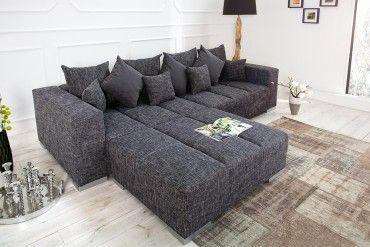 Design Xxl Sofa Big Sofa Island In Grau Charcoal Strukturstoff Inkl