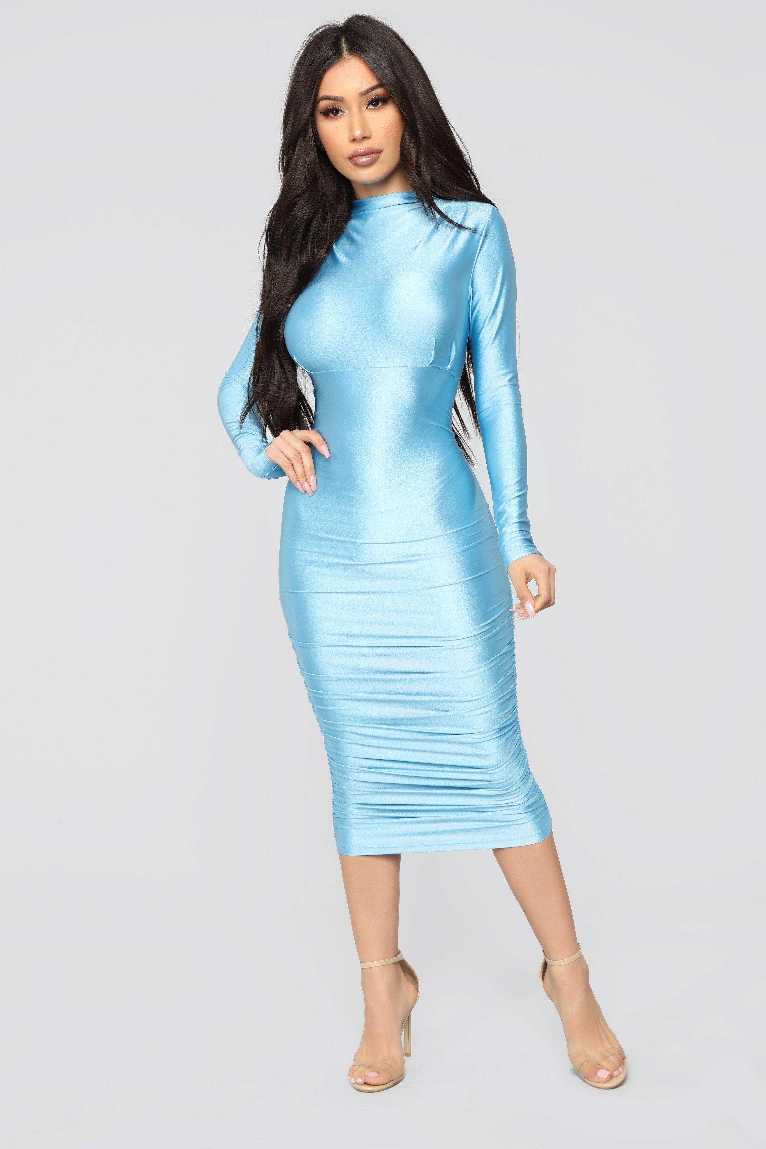Stuck With Me Midi Dress Blue in 2020 Blue midi dress