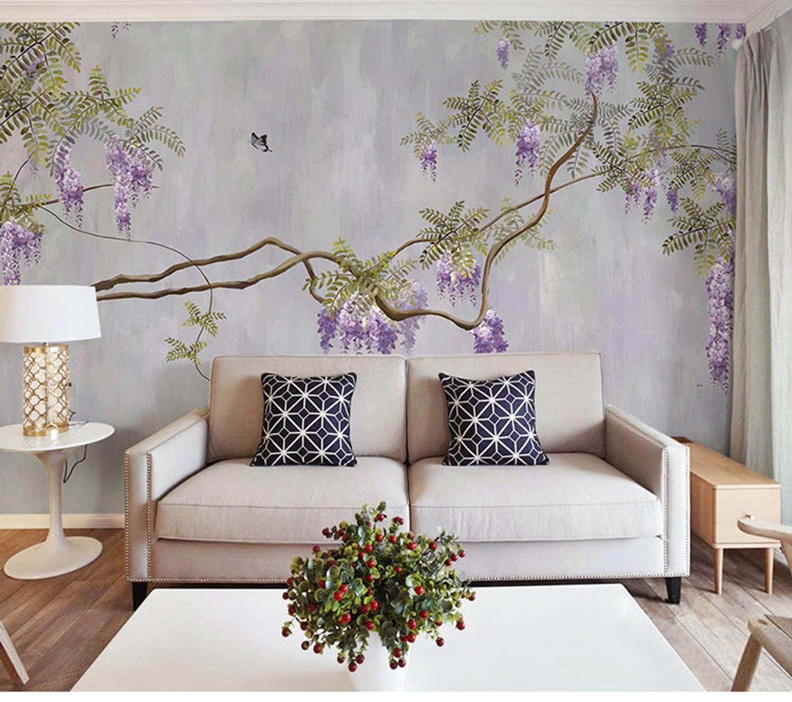 Oil Painting Purple Vine Wisteria Wallpaper Wall Mural