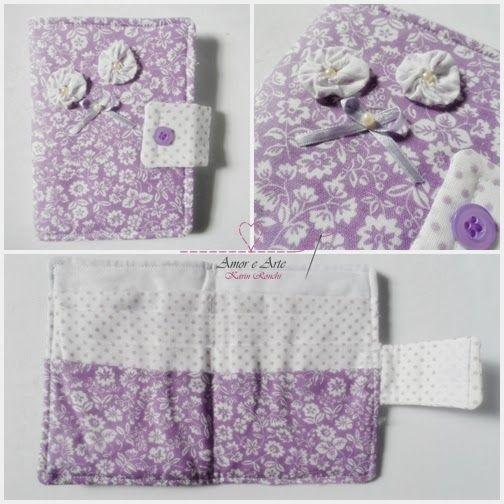 Carteira em tecido - Amor Perfeito 2 - Lilás floral e Branco poá