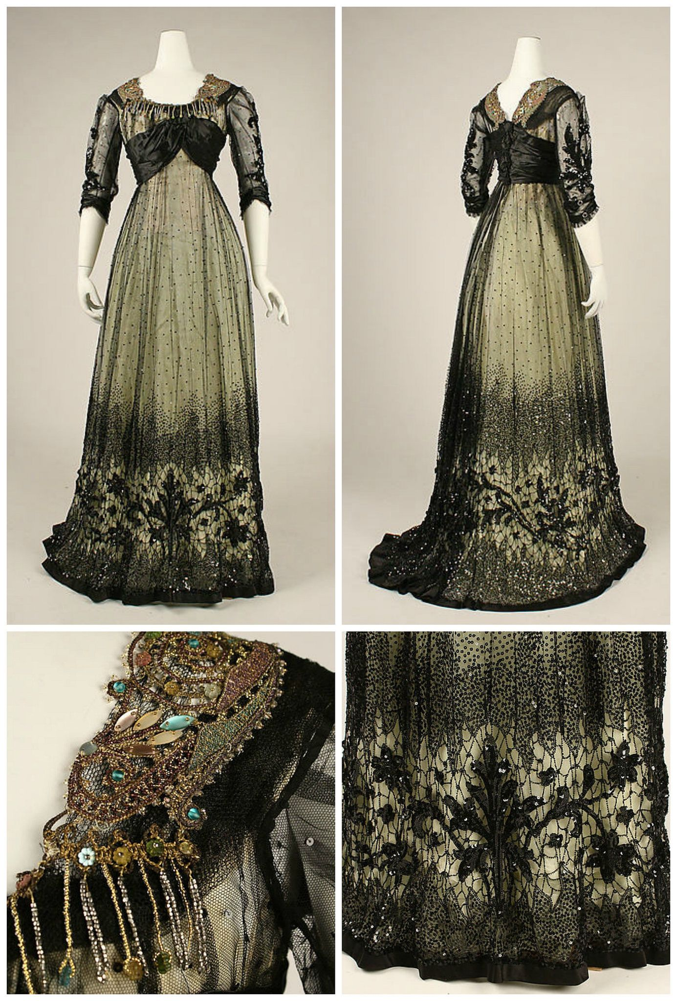 1908 Ball Gown American Silk Cotton Glass Metallic Thread Metmuseum Ball Gowns Victorian Ball Gowns Edwardian Ball Gown [ 2048 x 1385 Pixel ]