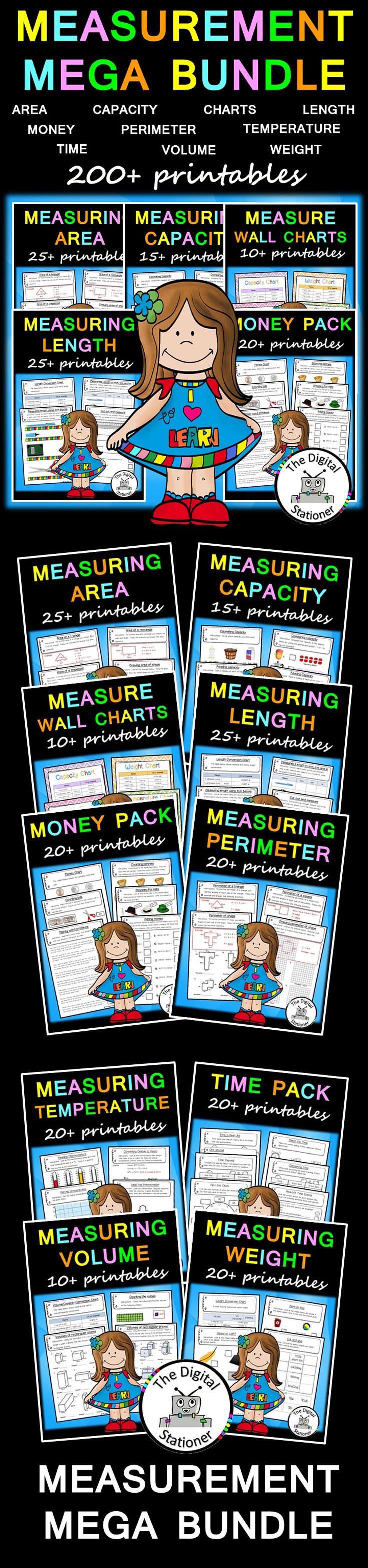 Measurement MEGA Bundle – 200+ printables | Numeracy, Math and ...