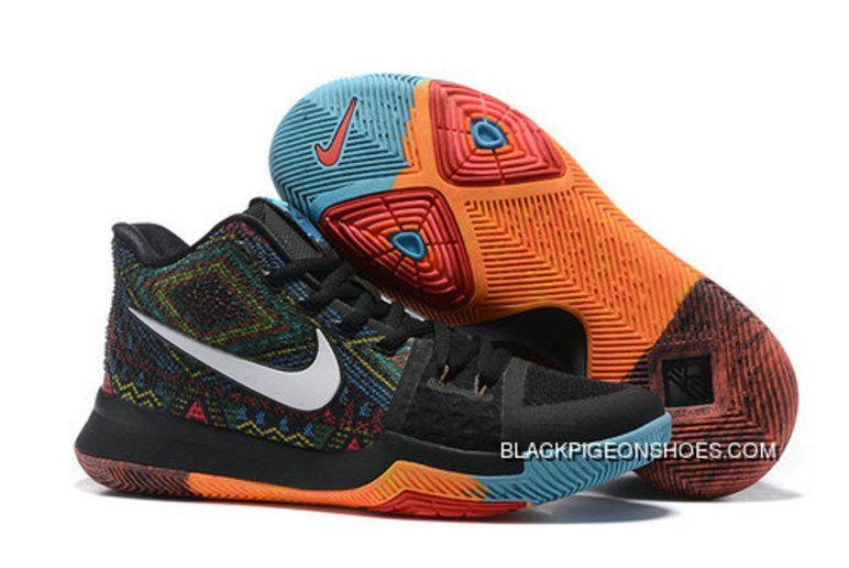7c78dda44cff New Release Nike Kyrie 3 Black White Orange Blue Basketball Shoes ...