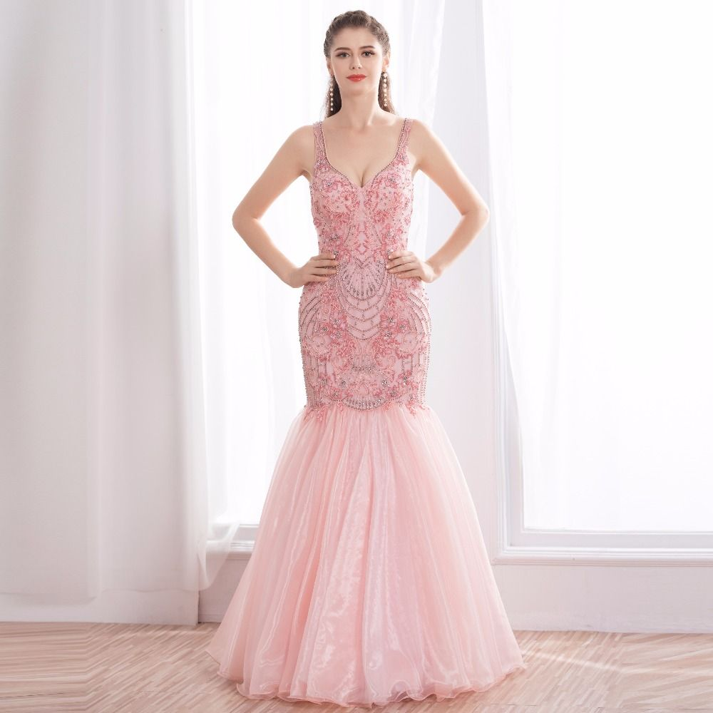 Formal evening dresses ever pretty elegant pink embroidery