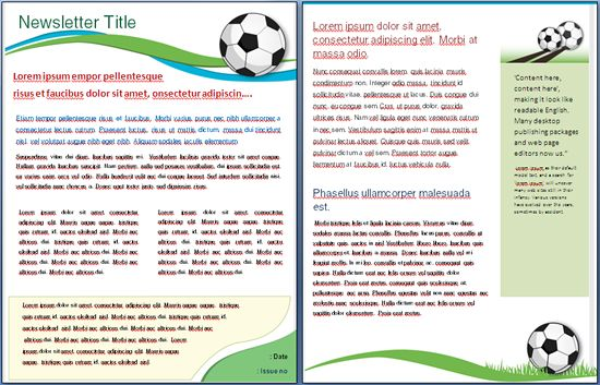 Soccer Template Templates Soccer Newsletter Templates