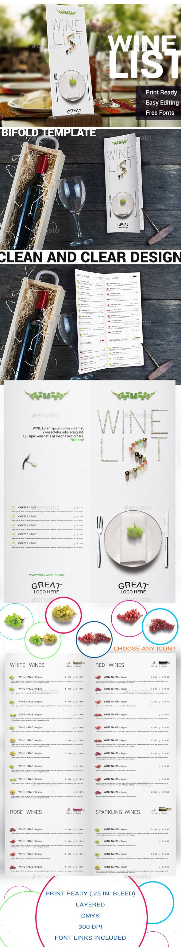 Clean Design Wine List Template  Clean Design Menu Templates And