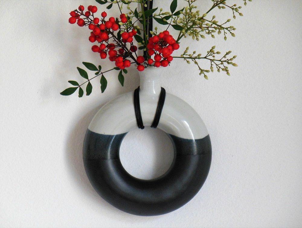 Ceramic Wall Vase Ring Shaped Vessel Bud Vase Doughnut Hanging