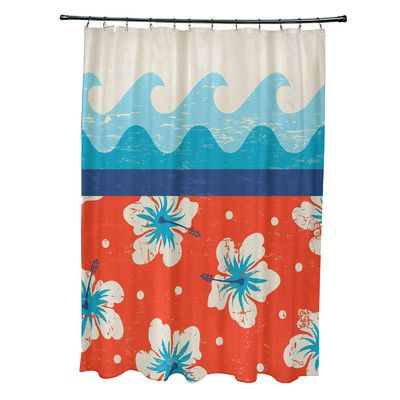 e by design Surf, Sand, & Sea Polyester Floral Shower Curtain Color: