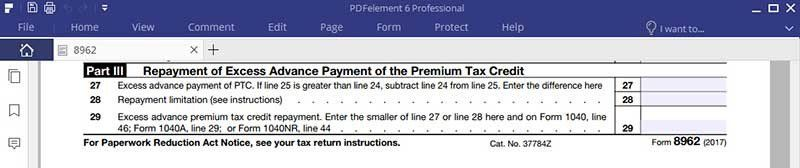 Irs Form 8962 Fillable Irs Form 8962 Instruction For How To Fill It Right In 2020 Irs Forms Irs Revocable Living Trust