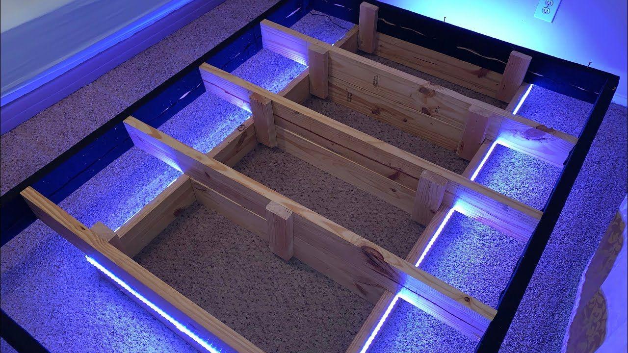 DIY Floating Bed Frame with LED lights
