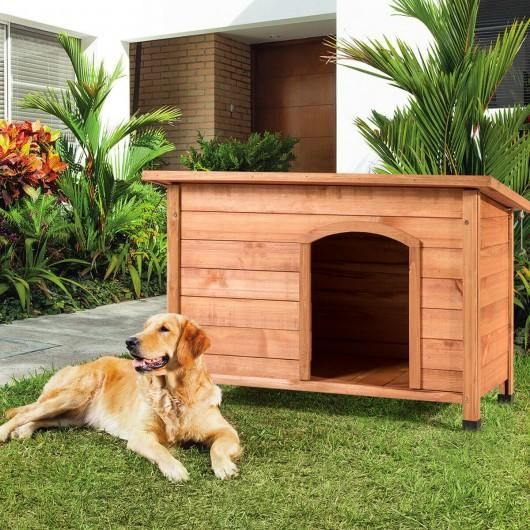 Photo of Wood Weather Resistant Home Outdoor Ground Dog House-XL