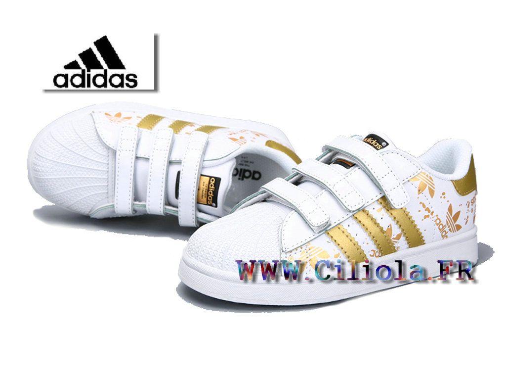 Adidas Originals Chaussures officielles Enfant Superstar Pas Cher Blanc/Or Store Site