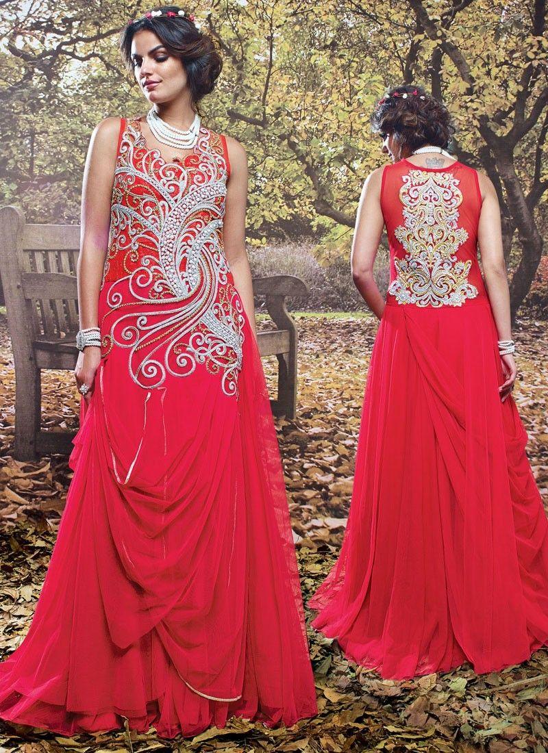6a274e76a1 Charming Pink Color Designer Gown Comes with Heavy zari work with Pari work  and stone work Maximum Bust Size - 42 Inches.
