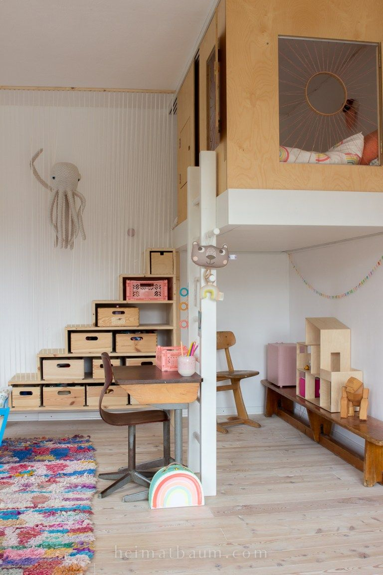 Ein sicheres Hochbett mit Stauraum {DIY Espacio de