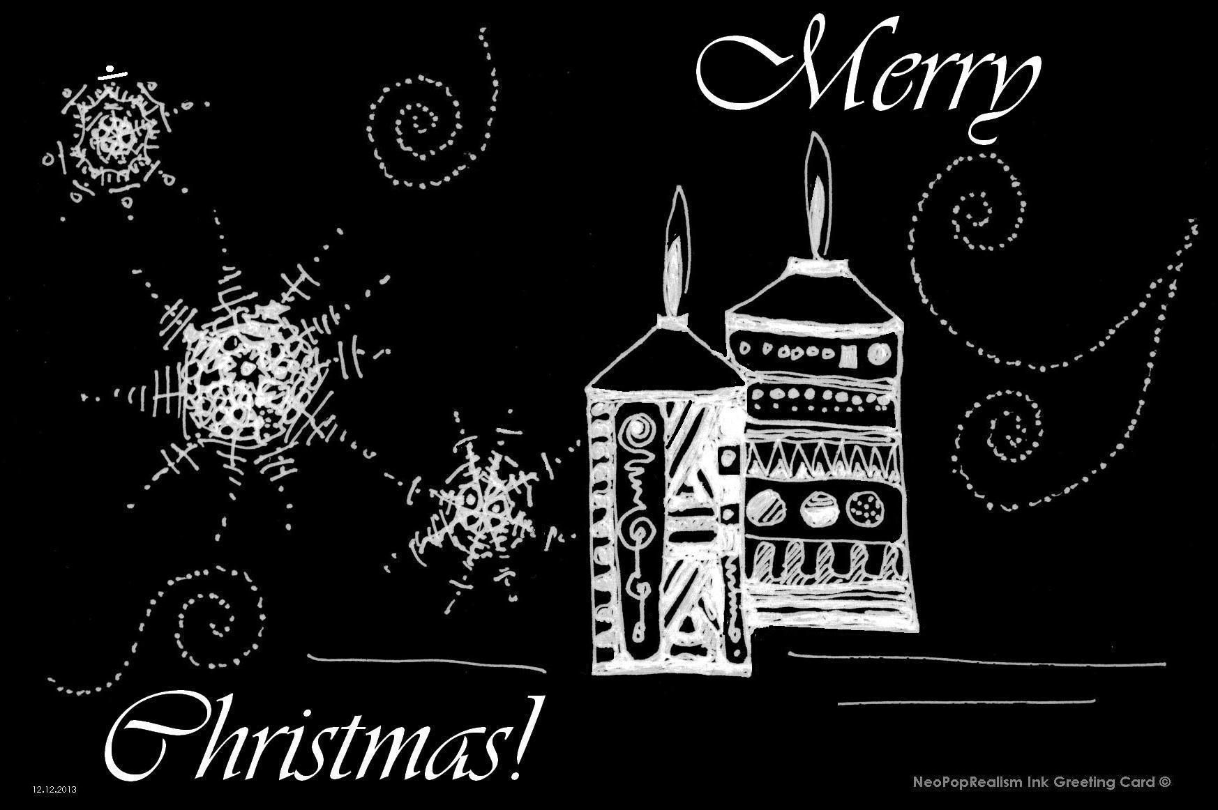 """Merry Christmas!"" candles NeoPopRealism ink & pen"