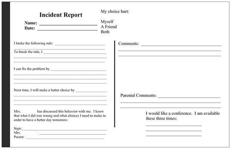 Behavior Incident Report  Classroom Ideas    School