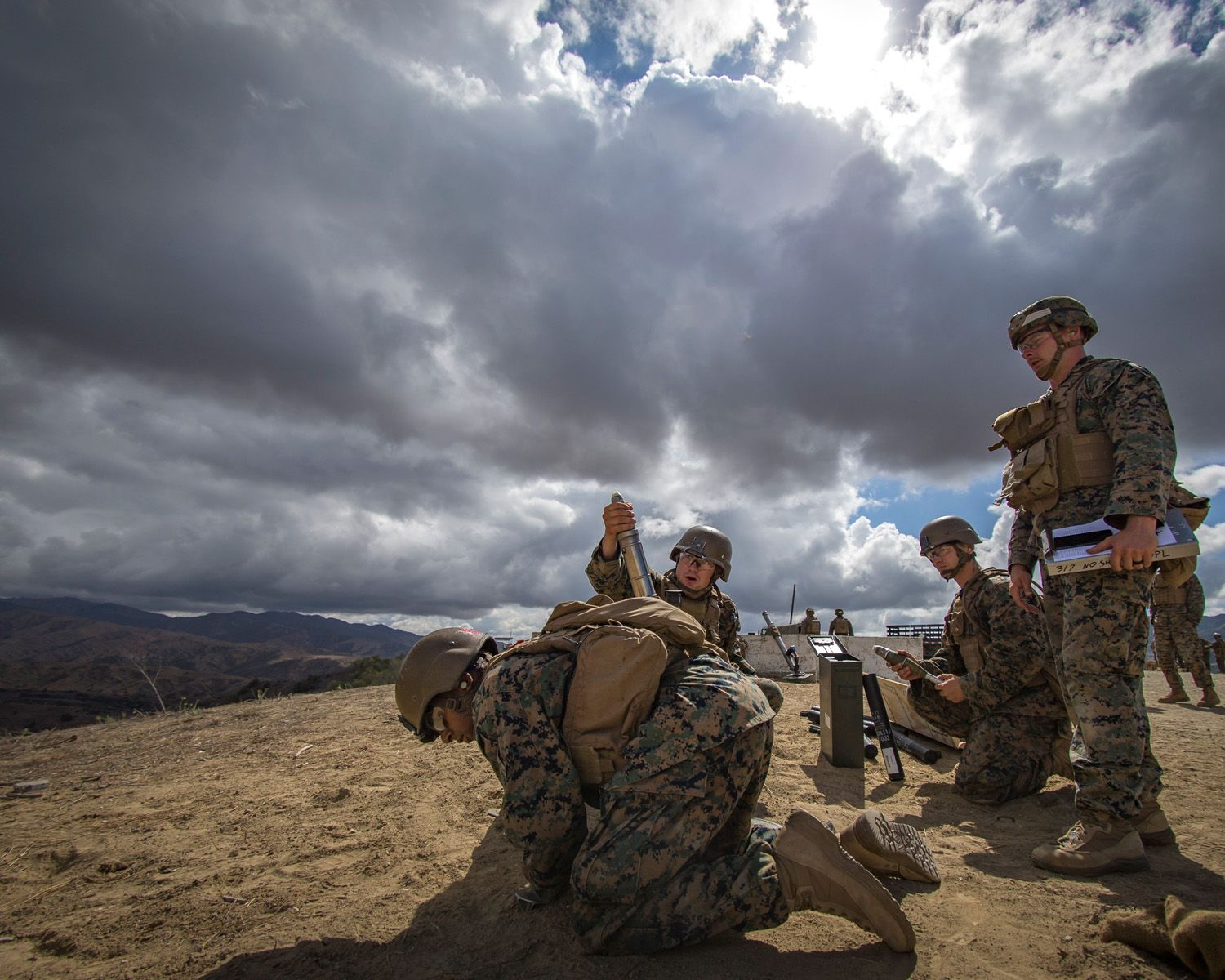 U S  Marines with Weapons Platoon, A Company, Infantry