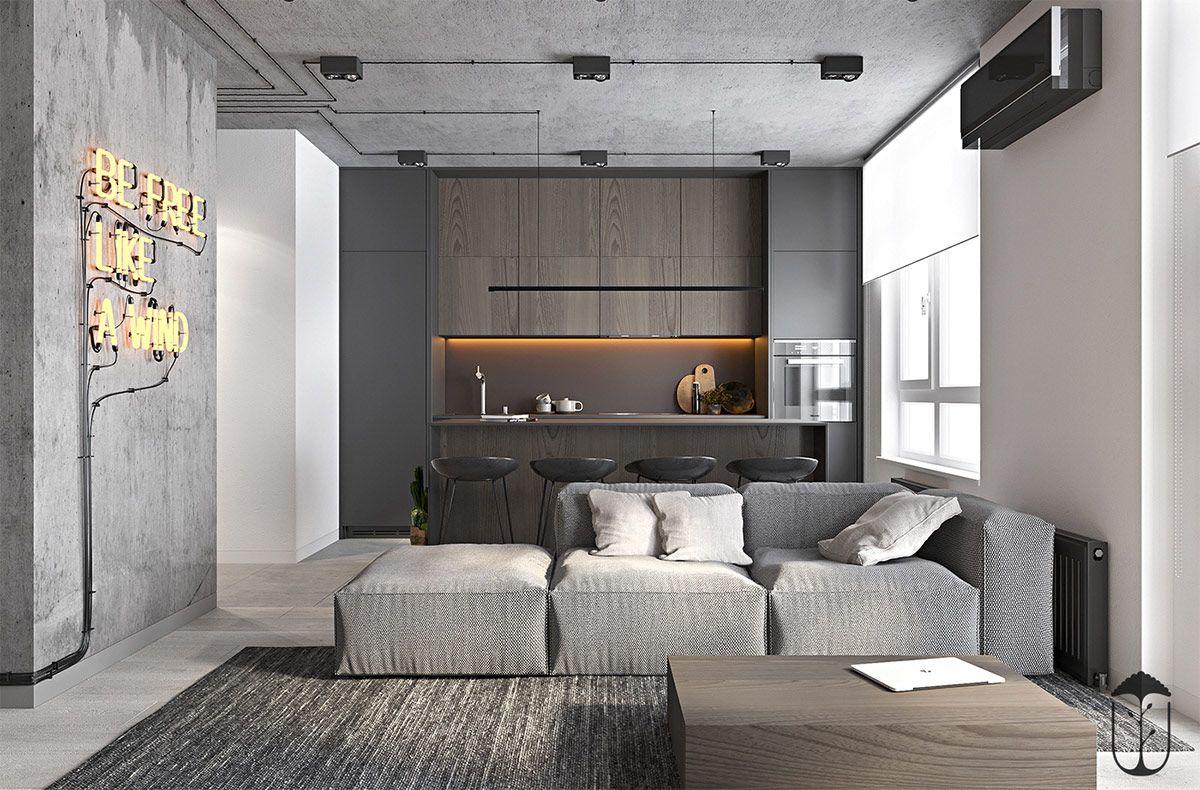 Grey Modern Industrial Apartment Interiors Industrial Apartment