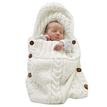 Newborn Infant Baby Knitted Hooded Swaddle Wrap Sleeping Bag Sleep Sack