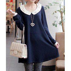 Lace Embellished Solid Color Long Sleeve Wide Hem Floral Print Women's DressLong Sleeve Dresses   RoseGal.com