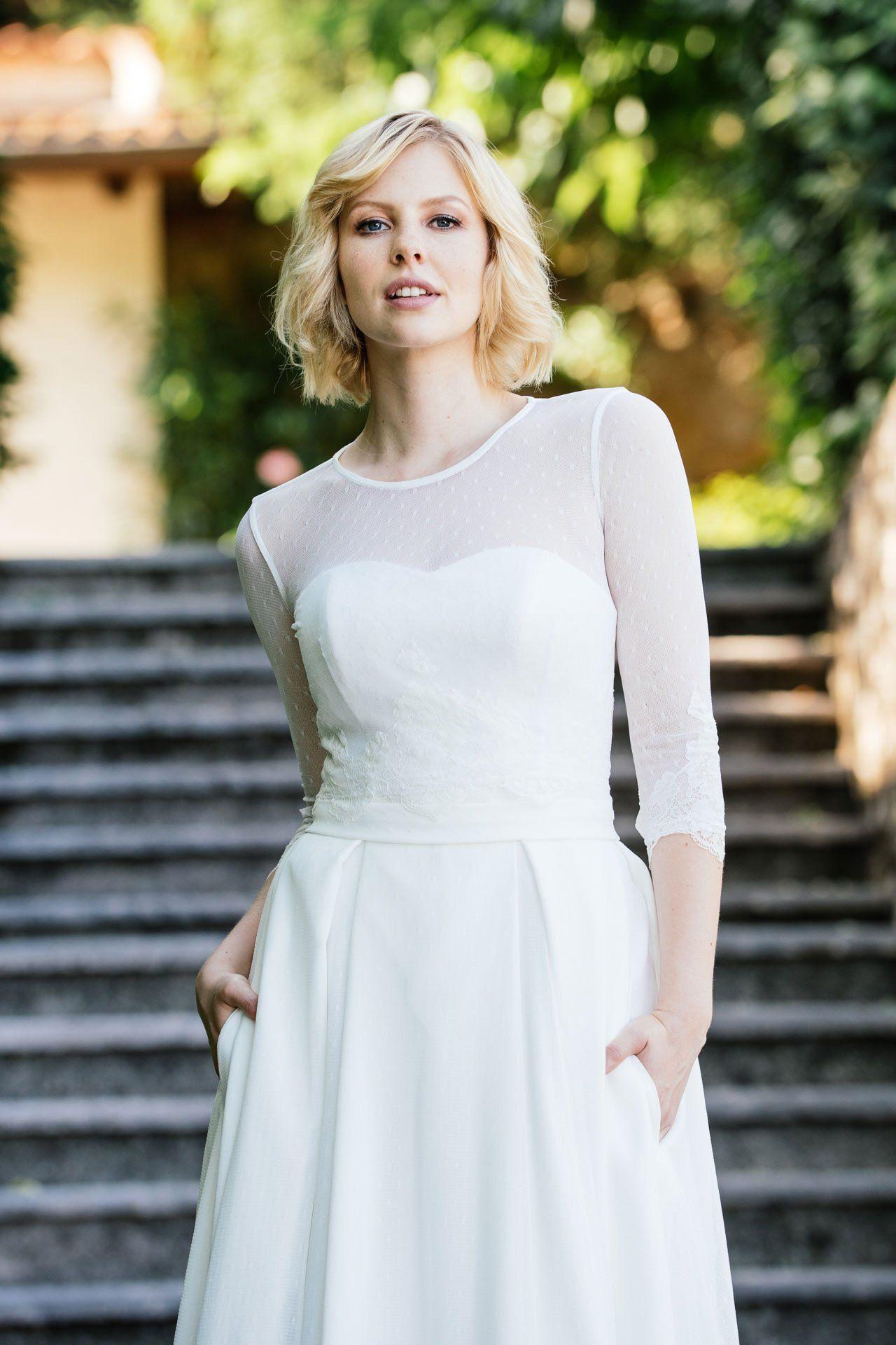 Brautkleid Corsage mit Tupfenbolero von vorne. Was sagst du zu ...