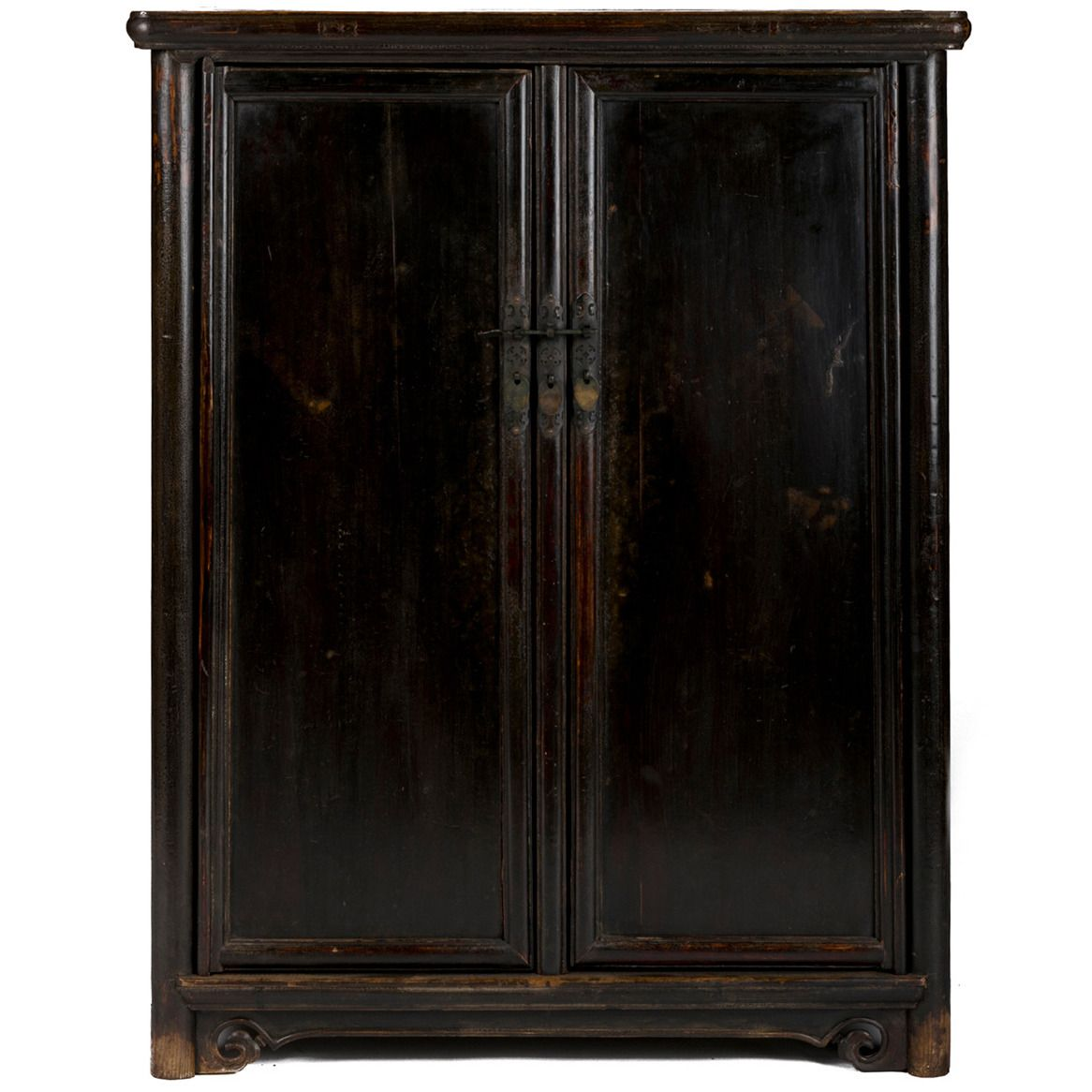19th Century Chinese Tapered Black Lacquer Round Corner Book Cabinet ...