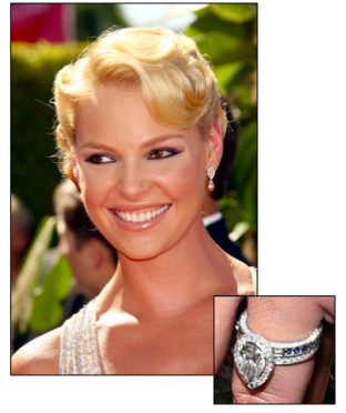 Katherine Heigl A Large Pearshape In Halo With Sapphire Eternity Band