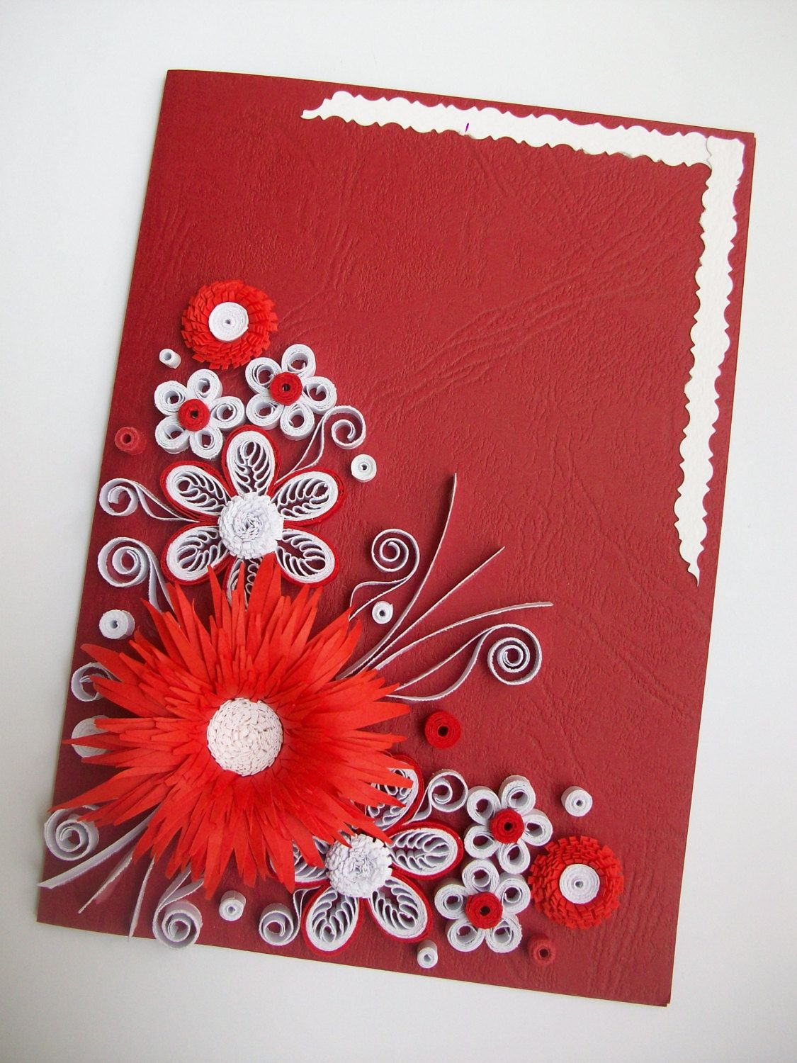 Red Flowers Quillin Cards NEW Handmade Quilled Paper Greeting Card
