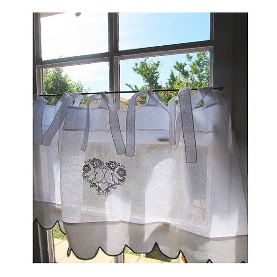 Bathroom Valance White Linen Window Topper Bath Curtain Sheer