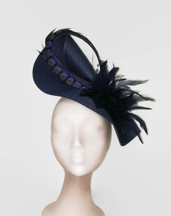 Feather fascinator blue navy blue hat navy wedding hat by Tocchic 9d477a65802