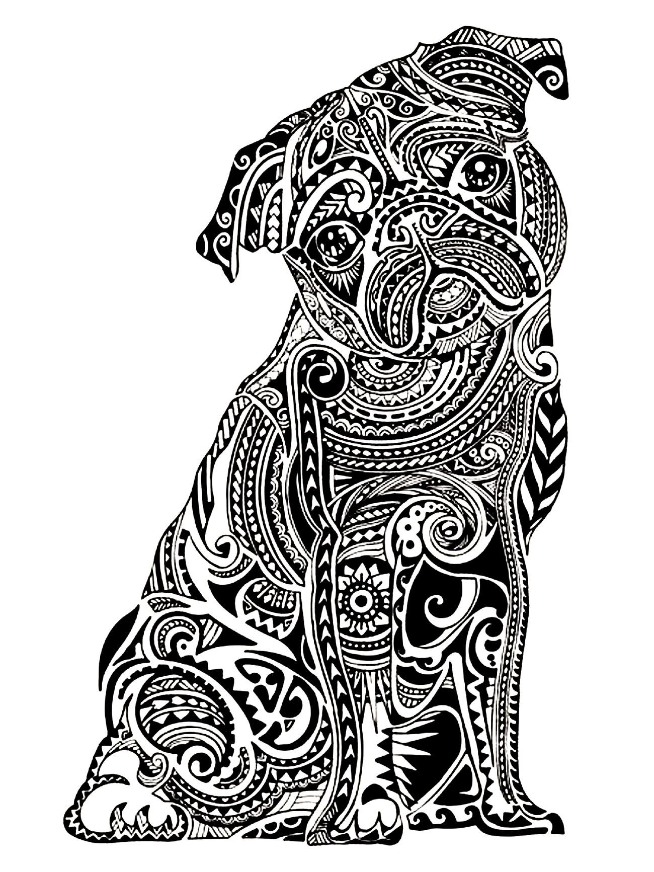 Free coloring pages for young adults - Free Coloring Page Coloring Adult Difficult Little Buldog A Cute And Young Bulldog Drawn With Very Contrasted Patterns