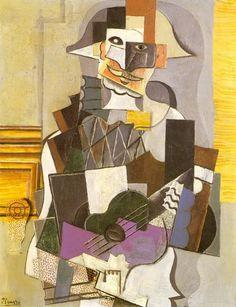 """Pablo Picasso - """"Arlequin à la guitare [Arlequin jouant de la guitare]"""". 1914"""