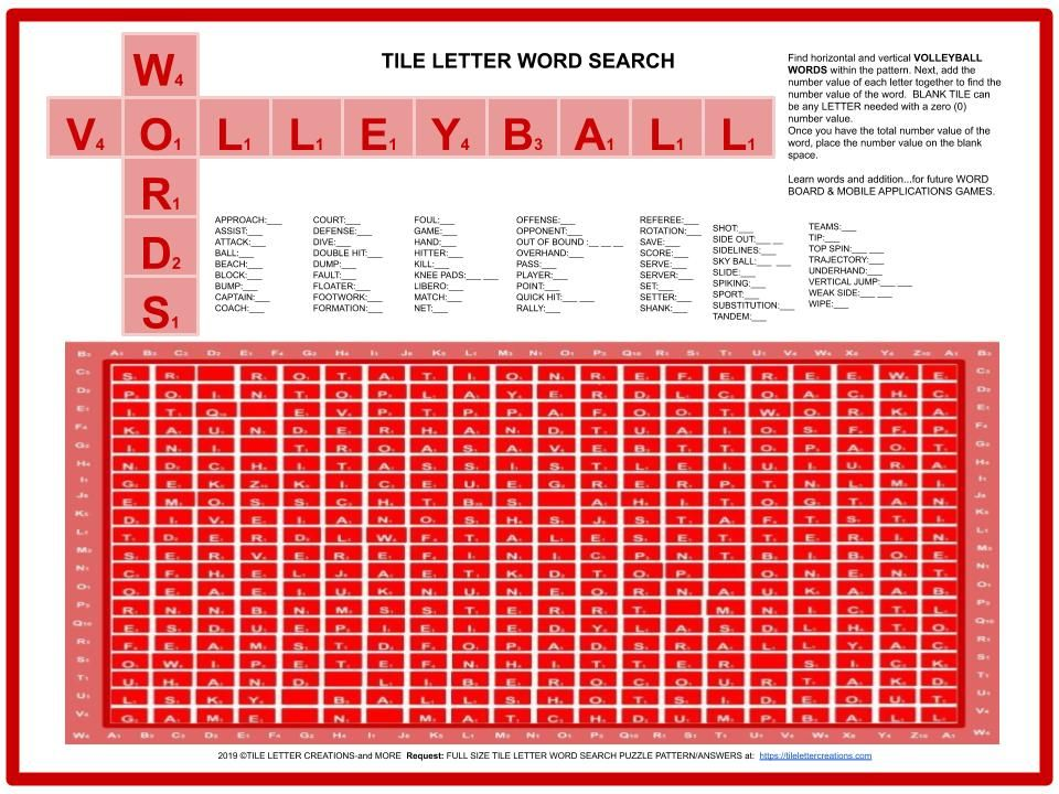 Volleyball Word Search Tile Letter Pattern Lettering Letter Patterns Word Search Puzzles