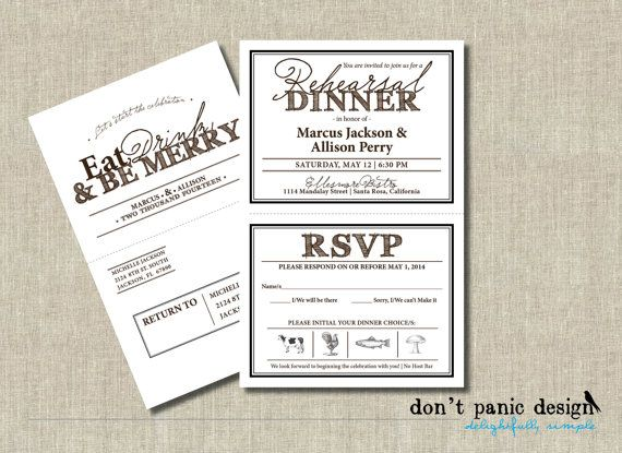 Fun A2 Sized Rehearsal Dinner Invitation With A Tear Off Rsvp Card Postcard And Rustic