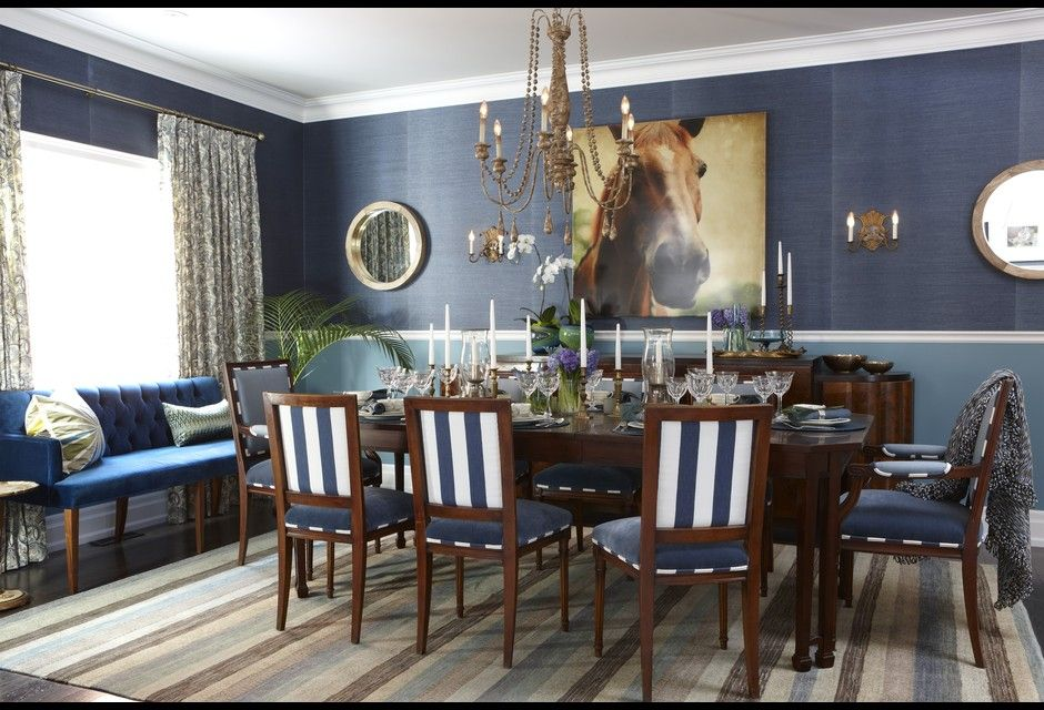 blue and white striped dining room chairs + navy walls ...