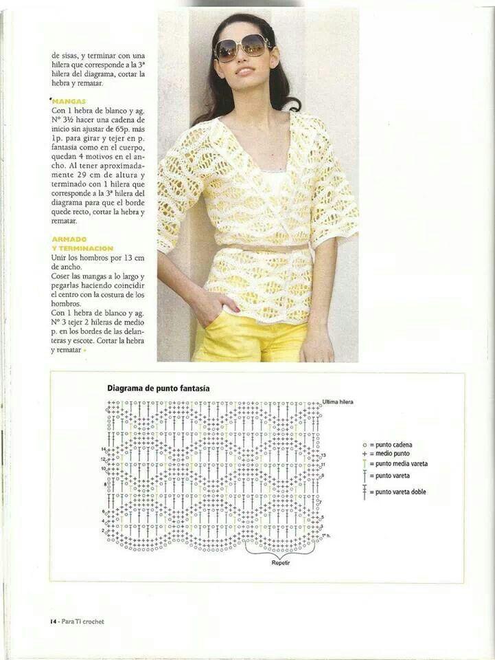 Sweater | crochet 1 | Pinterest | Patrón de ganchillo, Esquemas y ...