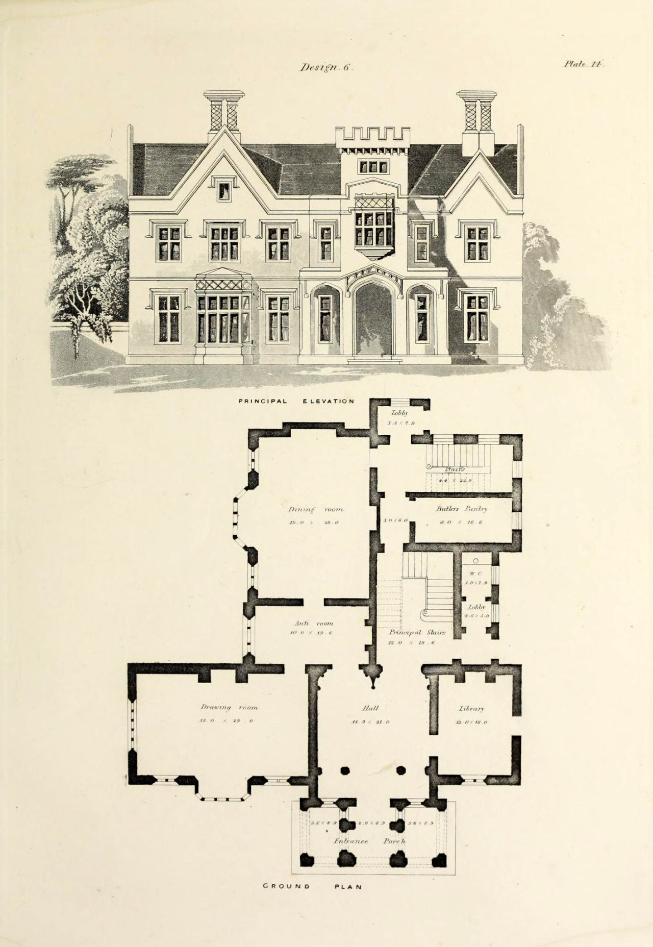 Design For A Gothic Revival Country House Gothic House Mansion Floor Plan Victorian House Plans