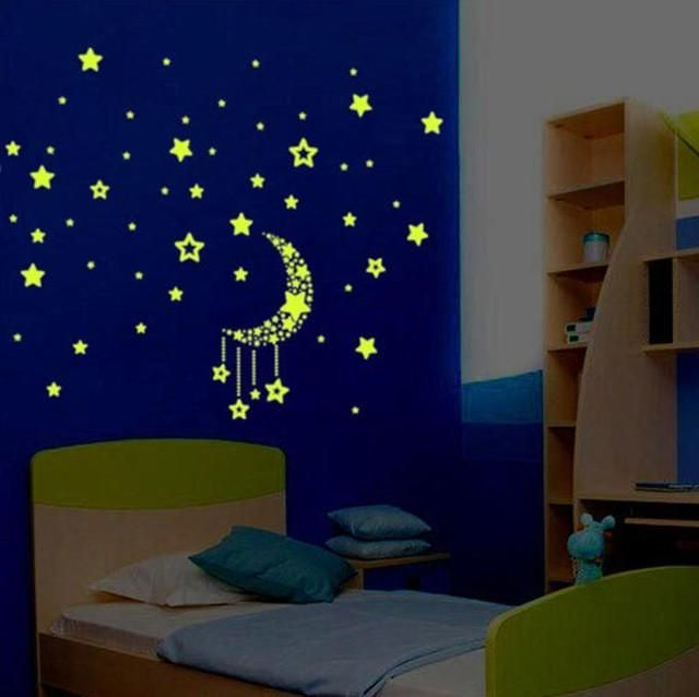 glow in the dark stars and moon wall stickers | wall decor | home